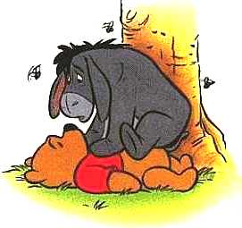 Eeyore fell from the tree and landed on Pooh.